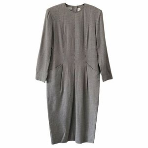 Vintage Liz Claiborne Houndstooth Pleated Dress 10